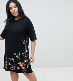 Платье-футболка с асимметричным краем и вышивкой ASOS DESIGN Curve - Черный