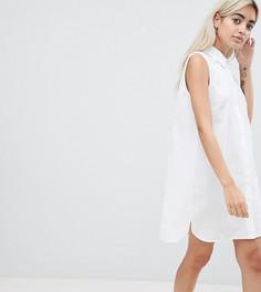 Хлопковое платье-рубашка без рукавов ASOS DESIGN Petite - Белый