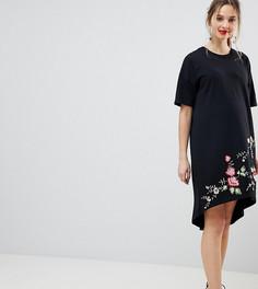 Платье-футболка с асимметричным краем и вышивкой ASOS DESIGN Maternity - Черный
