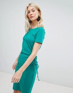 Платье миди с присборенной драпировкой сбоку Vero Moda - Зеленый