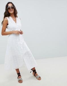 Платье на пуговицах без рукавов с вышивкой ришелье ASOS DESIGN - Белый