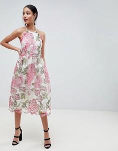Платье миди из кружева с цветочной отделкой ASOS DESIGN - Мульти