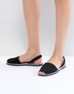Черные кожаные сандалии Solillas - Черный