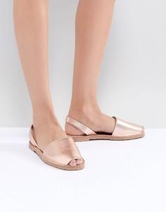 Кожаные сандалии цвета розового золота Solillas - Золотой