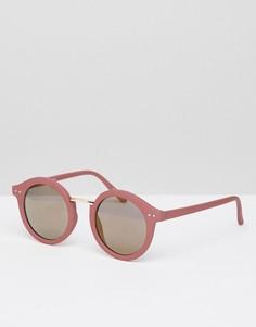 Контрастные круглые солнцезащитные очки Pieces - Розовый