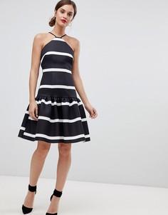 Платье миди в полоску с заниженной талией ASOS DESIGN - Мульти