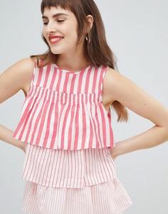 Ярусная блузка без рукавов в полоску River Island - Красный