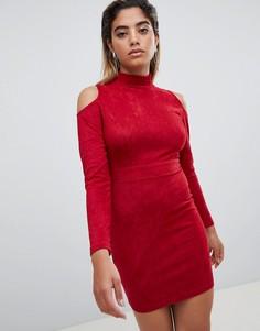 Облегающее платье с открытыми плечами AX Paris - Красный