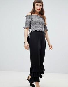 Прямые брюки с оборками River Island - Черный