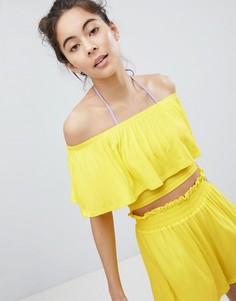Пляжный кроп-топ с открытыми плечами и оборками Monki - Желтый