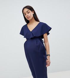 Платье миди с оборкой и запахом ASOS DESIGN Maternity - Темно-синий