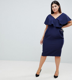 Платье миди с запахом и оборками ASOS DESIGN Curve - Темно-синий