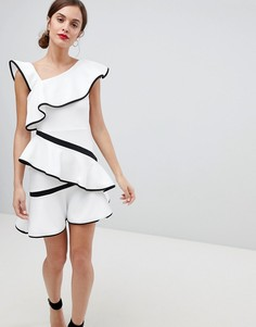 Платье мини с оборками ASOS DESIGN - Белый