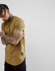 Oversize-футболка цвета хаки с закругленным краем Sixth June - Зеленый