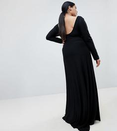 Платье макси с открытой спиной и разрезом до бедра Fashionkilla Plus - Черный