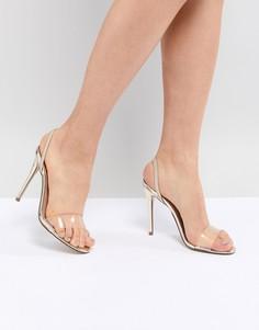 Акриловые босоножки на каблуке с ремешком через пятку New Look - Золотой