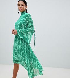 Платье в горошек с высоким воротом Boohoo Petite - Зеленый