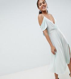 Плиссированное платье миди ASOS DESIGN Tall - Зеленый