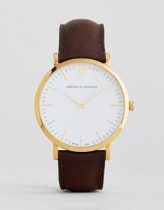 Часы с коричневым кожаным ремешком Larsson & Jennings Lugano 40 мм - Коричневый