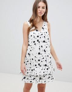 Летнее ярусное платье мини с принтом ASOS DESIGN - Мульти