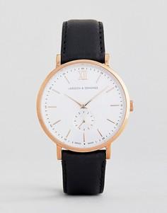 Часы с кожаным ремешком Larsson & Jennings Jura 38 мм - Черный