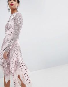 Платье миди с кружевом Keepsake - Розовый