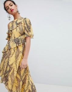 Асимметричное платье с цветочным принтом Keepsake - Желтый