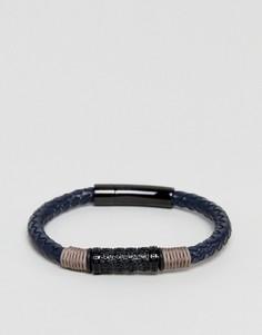 Черный кожаный браслет Seven London - Черный