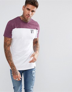 Белая обтягивающая футболка с фиолетовой вставкой 11 Degrees - Белый