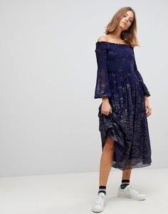 Платье миди с открытыми плечами Free People - Синий
