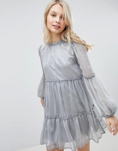 Платье с присборенной юбкой Glamorous - Серый