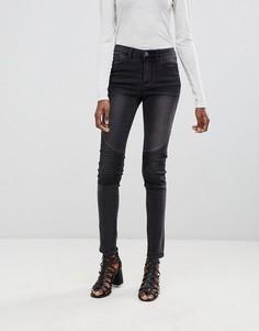 Зауженные байкерские джинсы Vila - Серый