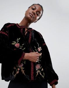 Велюровый пиджак с вышивкой Raga - Черный
