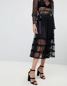 Сетчатая юбка миди с оборками To Be Adored Joy - Черный