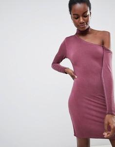 Облегающее платье на одно плечо с лентой вокруг шеи NYTT Olivia - Фиолетовый