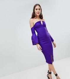 Платье-футляр с открытыми плечами и пышными рукавами Vesper Tall - Фиолетовый