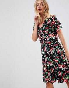 Чайное платье с воротником и цветочным принтом Trollied Dolly - Черный