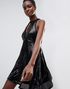 Платье халтер с пайетками Raga - Черный