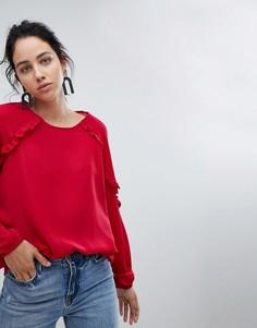 Блузка с оборками на рукавах b.Young - Красный