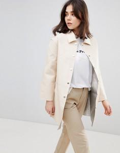 Оверсайз-пальто с серебристой внутренней частью Cubic - Кремовый