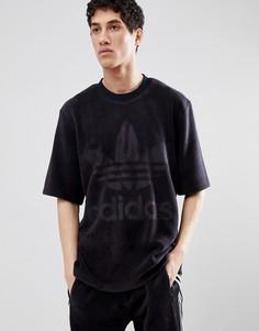 Черная велюровая футболка свободного кроя adidas Originals adicolor CY3548 - Черный