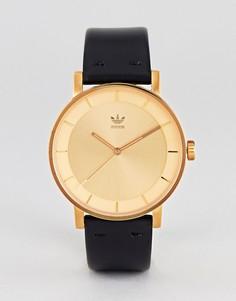 Золотистые часы с черным кожаным ремешком Adidas Z08 District - Черный