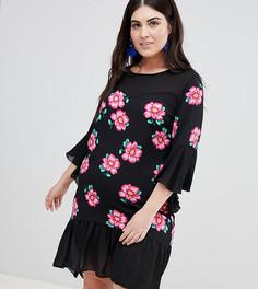 Свободное платье с цветочным принтом Lovedrobe - Мульти