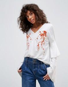 Блузка с вышивкой Neon Rose - Белый