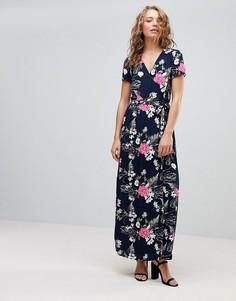 Платье макси с запахом и цветочным принтом Pieces Emi - Темно-синий