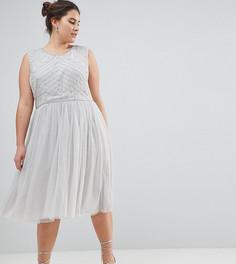 Декорированное платье с юбкой из тюля Lovedrobe Luxe - Серый