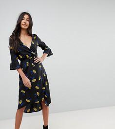 Платье миди с запахом и кружевными вставками Influence Tall - Черный