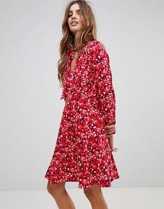 Платье с цветочным принтом и шарфом Trollied Dolly - Красный