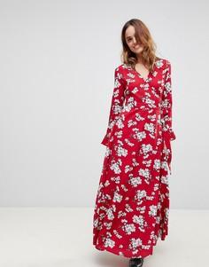 Платье макси с цветочным принтом и запахом Liquorish - Красный