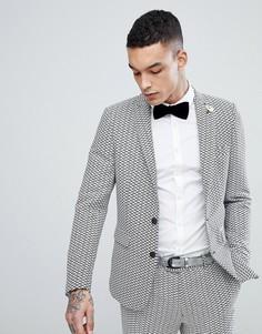 Приталенный пиджак с зигзагообразным принтом Devils Advocate - Белый